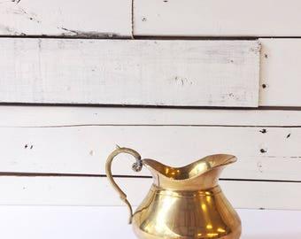Vintage brass pitcher | brass planter | brass vase