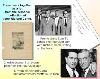Richard Conte - Four Just Men, three item lot directly from R. Conte's personal collection