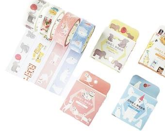 Polar Bear Washi Tape, White Bear Washi Tape, Elephant Washi Tape, Raccoon Washi Tape, Whale Washi Tape, Cat Washi Tape, Kawaii Animal Tape