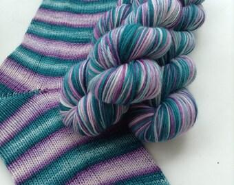 Hand dyed self striping merino sock yarn - First Chill