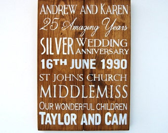 Personalised Wedding Anniversary Wooden Sign