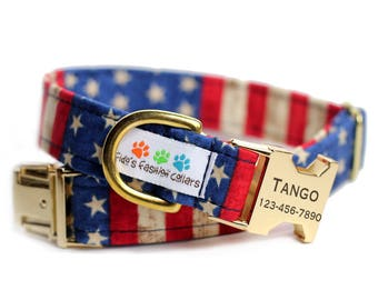 Engraved USA dog collar - Personalized Dog Collar - USA Collar