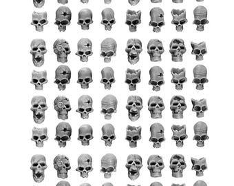 HUMAN SKULLS [IN 28mm scale] (64U)