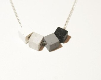 Concrete necklace / Cube necklace / Modern necklace / Modern jewelry /  Concrete jewelry / Modern necklace / Gift for her / Valentines day