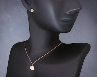 "Solid 14K Rose Gold Disc Necklace| Handmade polished solid 14k rose gold 3/8""(~9.5mm) disc necklace"