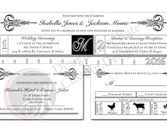 Vintage Train Ticket Wedding Invitation Set