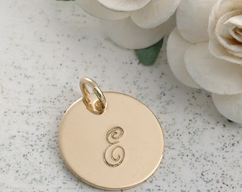 5/8 inch gold filled round disc  - add a name or initial