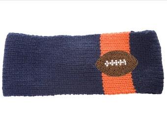 navy & orange knit headband ear warmer with a beaded and rhinestone football Denver Broncos inspired