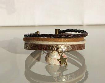 4 row faux snakeskin effect leather Cuff Bracelet