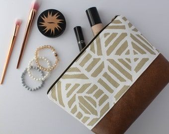 Gold & White Aztec Makeup Bag, Waterproof Cosmetic Bag, Vegan Leather Makeup Bag, Gold Toiletry Bag, Aztec Cosmetic Bag