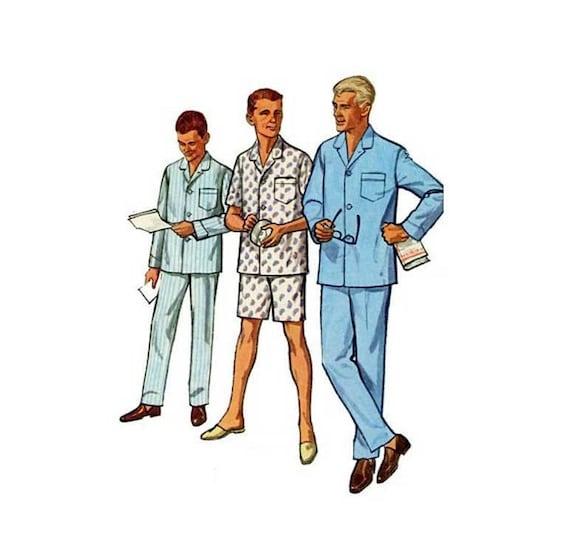 1960 Herren Schlafanzug Schnittmuster Top und kurze oder