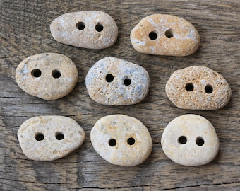 8 psc of sea stone buttons 2 hole buttons gift for mom gift for grandmother grandma gift beige buttons rocks buttons beach pebble buttons