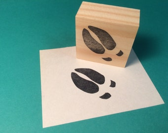 Hand carved rubber stamp - moose hoof print.