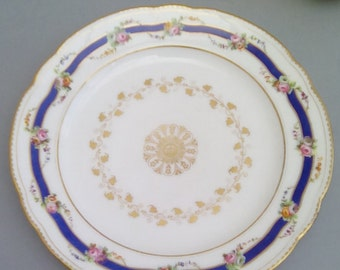 Antique French porcelain plate, hand painted.