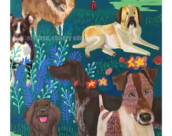Year of the Dog ... giclee art print • animal • lunar new year • 2018 • chinese zodiac • night • good luck • bird • colorful • birthday gift