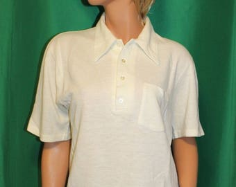 Vintage 70's Men's White Acrylic Knit Shirt by Quality Tailored - Size Large