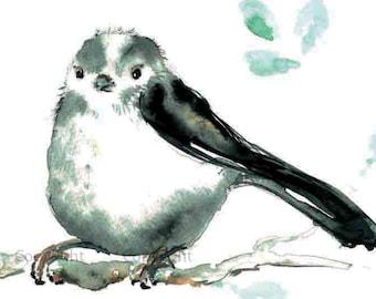 Chickadee Watercolor Painting Digital Download Chickadee Print Woodland Bird Art Print Instant Download Watercolor Bird Painting Print
