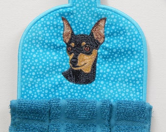 Min Pin, Miniature Pinscher embroidered towel topper, multiple colors