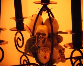 Gothic Roses & Romantic Skulls Candelabra - Candles from a real Haunted House! Wedding Centerpiece -One of a Kind OOAK