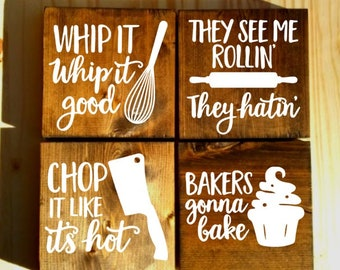 set of 4 funny kitchen signs, kitchen signs, farmhouse sign, rustic sign, home decor, wood sign