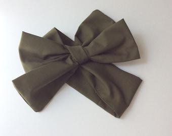 Baby headwrap; baby headband ; hunter green fabric head wrap; newborn headband; baby headband; toddler headband; adult headband; girl