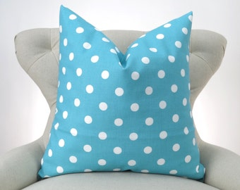 Blue and White Polka Dot Pillow Cover -MANY SIZES- Euro Sham, Big Pillow, Floor Pillow, Aqua Coastal Blue by Premier Prints
