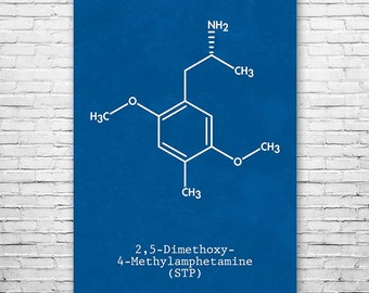 DOM STP Molecule Poster Science Art Print, DOM Molecule, Pihkal, Alexander Shulgin, Entheogen, Drugs, 2-5-dimethoxy-4-methylamphetamine
