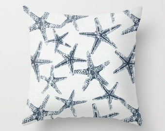 Starfish Pillow Cover Navy Pillow Nautical Pillow Throw Pillow Accent Pillow Size Choice
