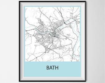Bath Map Poster Print - Black and White