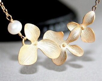 Gold Orchid Necklace with white Freshwater Pearl. Three Orchids. Gold Flower Necklace. Gold Filled. Wedding Jewelry, Bridesmaids Gift