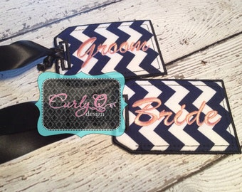 Bride and Groom luggage tag set. Chevron fabric embroidered honeymoon luggage tag set