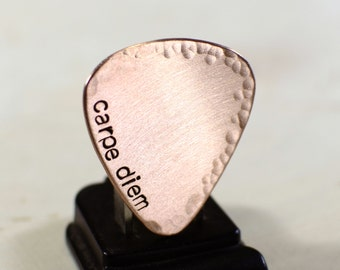 Carpe diem copper guitar pick with hammered texture and endless options for personalizations - GP734