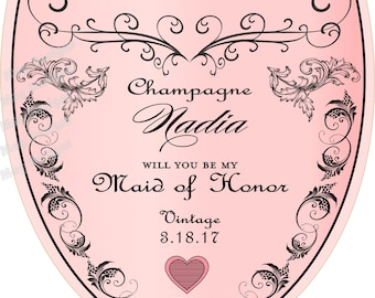 Mini Champagne Label Personalized Champagne Labels Wedding - Champagne label template