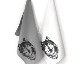 Wolf Tea Towel, Kitchen Towels, Hand Towesls, Tea Towels, Dish Cloths, Woodland Dish Towel, Housewarming Gift, Wolf Gift, Hostess Gift