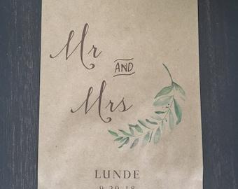 Wedding Favor Bags, Elegant Olive Branch Candy Buffet Sacks, Custom Wedding Favors, 25 Cake Bags, Paper Personalized Printed Sack