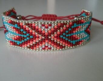 Loom beaded bracelet with waxed cord/Native inspired bracelet/Gypsy boho bohemian tribal colourful bracelet made with love/Festival bracelet