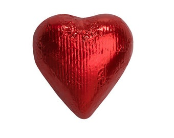 Sweetworks Hearts Solid Milk Chocolate Candy - Red - 1 LB Bag