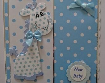 baby boy handmade card giraffe blue