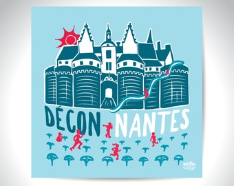 "Postcard illustration ""deconnantes"" Nantes"