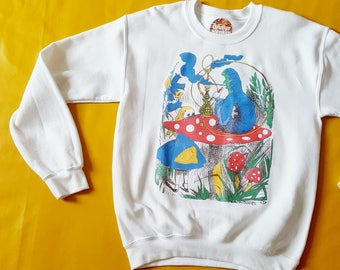 Alice in Wonderland Clothing Hookah Smoking Caterpillar Trippy Top Trippy Sweater Hippy Sweater Cool Jumper Cool Fairytale Gift
