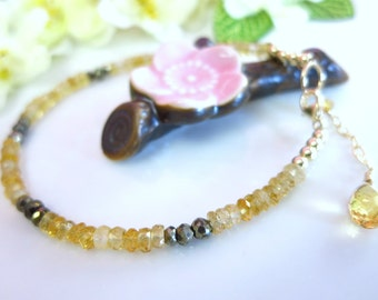 Citrine and pyrite rondelle gold filled bracelet, yellow and black stone bracelet, adjustable birthday gift gold and black citrine bracelet
