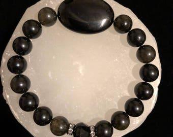 Onyx & Gold Sheen Obsidian Crystal Healing Gemstone Bracelet