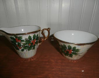 Vintage Christmas holly berry sugar and creamer set Ucagco irridescent gold gilt