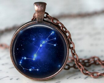 Scorpio - Zodiac Pendant Necklace or Key Chain - Choice of 4 Bezel Colors - Oct. 23rd - Nov. 21st  Birthday, Constellations, Space