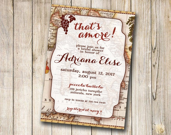 Tuscan Themed Wedding Invitations: Italy Themed Bridal Or Baby Shower Invitation Old Antique