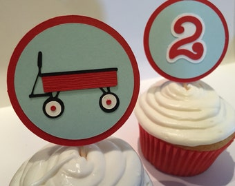 Red Wagon Cupcake Toppers