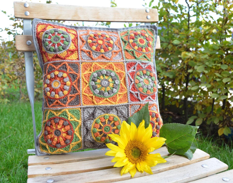 PATTERN Sunflower Crochet Pillow - Granny Square cushion - overlay ...