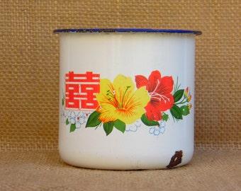 Vintage émail Mug - émail - ferme Decor - Maison campagne Chic