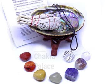 "Chakra Healing Crystal Set: 7 Chakra Crystals, 3"" California Sage, Shell, + Instructions"