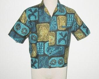 Vintage 1950s 1960s Shirt / 50s 60 Hawaiian Tiki Abstract Shirt Jac / 50s 60s Shirt Jac In Turquoise, Khaki & Gold Shirt Jac - M